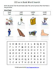 These worksheets help kids learn to use letters to make sounds and words. Easy Vowel Digraph Oo Phonics Word Search