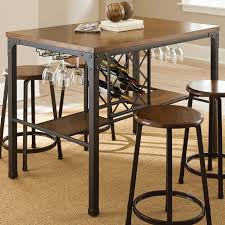wine rack dining table.  Dining Black Metal Counter Height Dining Table With Hanging Wine Rack And Within  Room Storage For