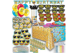 Ultimate Emoji Birthday Party Plates Cups Napkins Banner Balloons Sunglasses Bracelets Tattoos And More