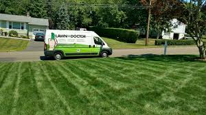 green grass with lawn doctor truck in background