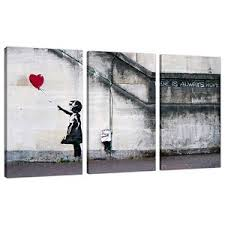 image is loading set of 3 large banksy canvas wall art  on canvas wall art large uk with set of 3 large banksy canvas wall art prints uk red balloon girl