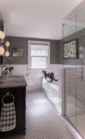 amazing white hexagon tile bathroom floor grey subway tile bathroom