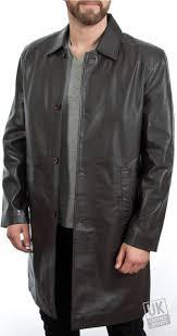 men s 3 4 length brown leather coat saint main
