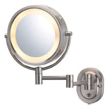 View gallery bathroom lighting 13 Design 5x Halo Lighted 13 In X10 In Wall Mount Makeup Mirror In Nickel Jerdon 5x Halo Lighted 13 In X10 In Wall Mount Makeup Mirror