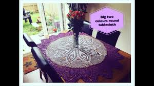 how to crochet big two colours round tablecloth part 1 of 4