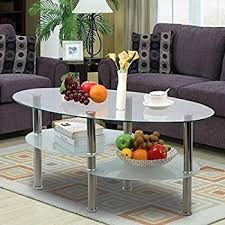Yaheetech 3 Tier Modern Living Room Oval Glass Coffee Table Round Glass  Side End Tables With