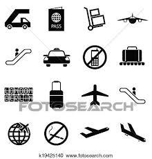 ベクトル 黒 空港 アイコン セット クリップアート切り張りイラスト絵画集
