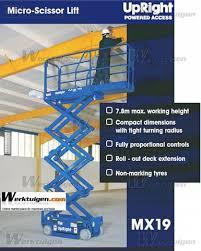 upright mx19 micro electric scissor worklift 780cm scissor lifts upright mx19 machinery specifications