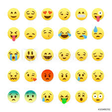 Fotografie Obraz Set Of Cute Smiley Emoticons Emoji Flat Design