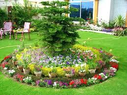 round backyard flower garden designs look cool