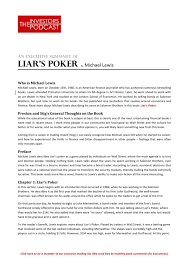 executive summary of books liars poker the investors podcast