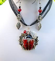 handmade ladybug necklace earrings set nature jewelry one of a kind jewelry