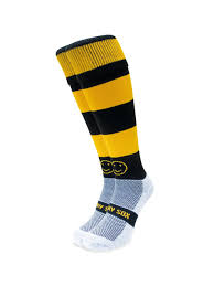 wackysox black and amber hooped sports socks