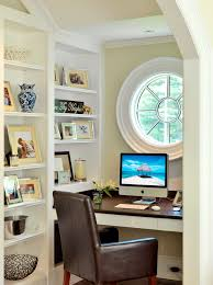 small office home office home office. an oxeye window can become a focal point of tight alcove home office small digsdigs