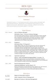 Service Delivery Manager Resume samples