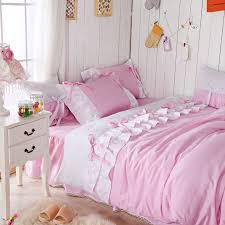 romantic pink queen comforter set korean pink falbala ruffle fairy duvet cover set twin size girls princess bed set in bedding sets from home garden on