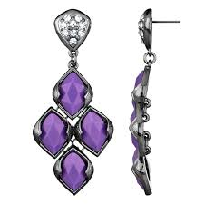 37 purple crystal chandelier earrings bohemian style white gold plated purple cubic zirconia organiccollective org