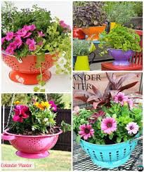 DIY Recycled Collander Planter Instructions-20 DIY Upcycled Container Gardening  Planters Projects