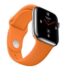 light flexible and water resistant the sport band in signature hermès orange is perfect for exercising included as an additional band with every apple