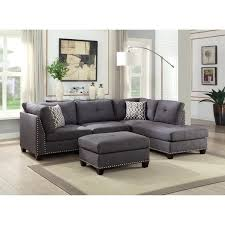 acme laurissa charcoal linen l shaped sectional sofa with ottoman