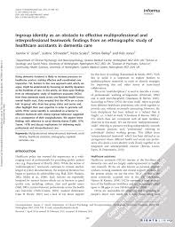 Pdf Ingroup Identity As An Obstacle To Effective Multiprofessional