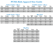 Puma Big Girl Size Chart Puma Size Chart Otvod