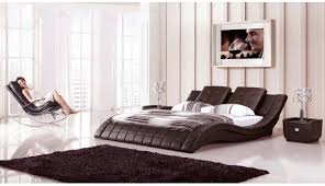 Leather Bedroom Furniture Ae B8236 Dch Dark Chocolate Leather Bedroom Set King And Queen 2