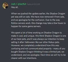 Maybe you would like to learn more about one of these? Adopt Me On Twitter We Listened To Your Feedback And The Shadow Dragon Is No Longer For Sale Our Full Statement In Images