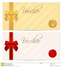 Gift Voucher Free Template Voucher Gift Certificate Coupon Template Bow Stock Vector