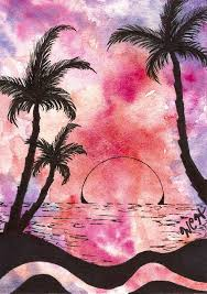 Tropical Beach With Palm Trees At Sunset Painting by Wesley Hicks