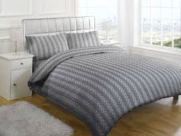 cable knit printed duvet in grey covers bedroom
