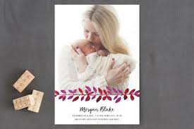 Announcement Postcards Pink Garland Birth Announcement Postcards By Morga Minted