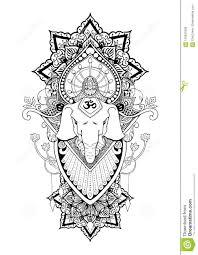 Silhouette Ganesha Mandala Oriental Drawing Illustration Tattoo