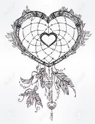 Heart Dream Catcher Tattoo Hand Drawn Romantic Drawing Of A Heart Shaped Dream Catcher 26
