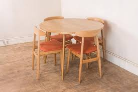 vintage retro small light oak circular dining table and 4 1950s beech chairs photo 1