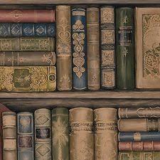 Wallpaper Designer Library Book Bookshelves Brown Green Red Gold & Black  Blue