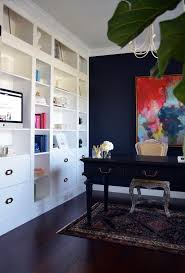 blue home office. ikea bookcases turned into custom built in dark office painted sherwin williams inkwell blue home