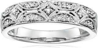 Amazon.com: Sterling Silver Diamond Band Ring (1/20 cttw, I-J Color, I2-I3  Clarity): Jewelry