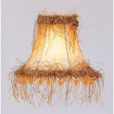 champagne silk bell clip chandelier shade w light corn silk fringe beads