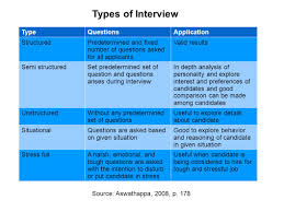 chapter selecting human resources lecture overview selection 11 types of interview typequestionsapplication structuredpredetermined and fixed number of questions asked for all applicants valid results semi