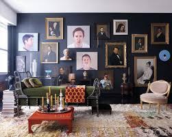 eclectic living room interior design. unique and eclectic living room design -- dark wall color, mix of old interior