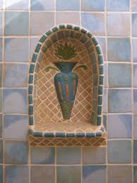 custom made bathroom niche ceramic tile mosaic accents interior design