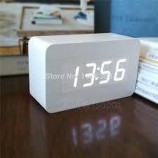 battery operated alarm clock wood design led digital alarm clock temperature display acoustic battery powered digital