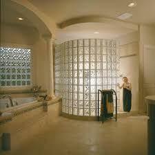 walk in door less radius glass block shower constructed with 6 x8