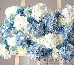 white flower wall decor lot artificial silk rose with hydrangea flower wall white blue flower wall