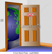 Open door to the world An illustration of a room with an clip