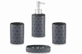 Modernes 4tlg Bad Accessoires Set Keramik Schwarz Badezimmer Set