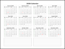 2020 Calander Printable Free Printable 2020 Yearly Calendar Template Best