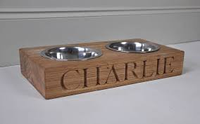 personalised solid oak dog bowl
