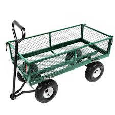 heavy duty metal gardening trolley green trailer cart 49 99